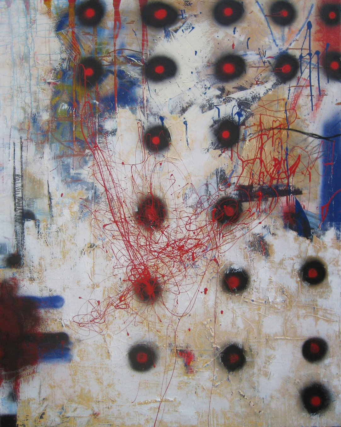 Dot 4'x5' Oil, enamel, charcoal, and spray paint